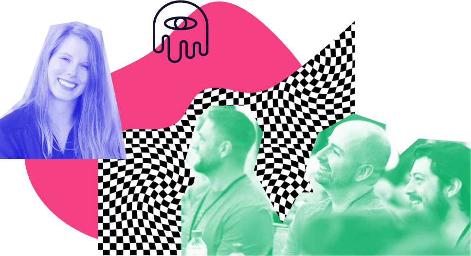 A collage of four people with bright blue and green overlays. There's  warped checkerboard pattern behind them as well as a couple of doodle illustrations that look lively and fun.