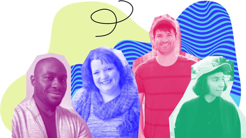 Photos of four people, two men and two women, overlaid with bright colors and doodle illustrations as a backdrop. Everyone is smiling.